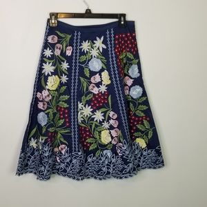 Pura Vida Embroidered Floral Skirt